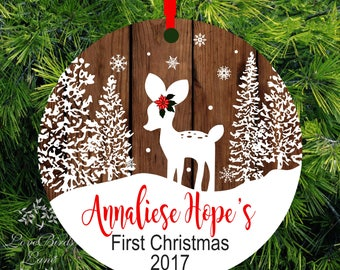 Personalized Baby's First Christmas Ornament   Deer Ornament   1st Christmas Kid's Ornament   lovebirdslane
