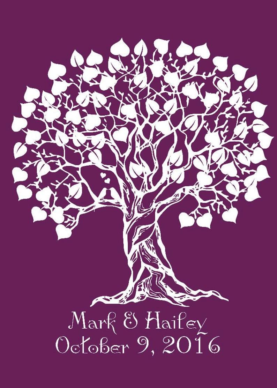 Modern Keepsake Signature Heart Wedding Tree Guestbook Alternative Rustic Wedding Sign Ready to Hang -lovebirdslane