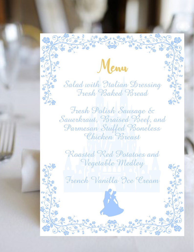Digital Printable Cinderella Waltz Wedding Menu Calligraphy Wedding Menu