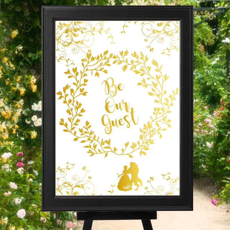 Beauty and the Beast Be Our Guest Wedding Welcome Sign