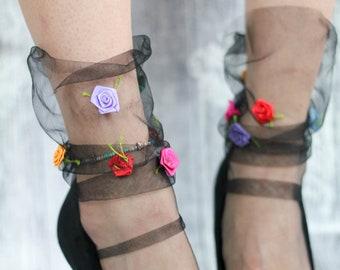 Black French TULLE socks with colourful satin ROSES - Sheer Slouchy Ankle Socks - Black Evening Dress Socks - 50s Fashion Socks - Mesh Socks