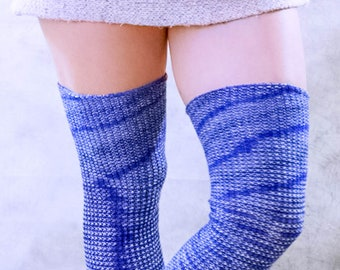 2b681701a7d Geometric BLUE Navy Pattern Over the KNEE socks - Knitted WOOL Blend Ribbed  Thigh High socks - Better than leg warmers - Extra Long