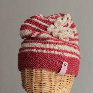 Woollen Warm Student Beanie Women/'s Hat Gift for a Man Knitted Springtime Beret Hat Cosy Woolly Headwear. Multi Striped Slouchy Hat