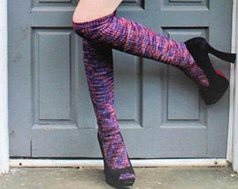 f3f5673985cee Ribbed mottled PLUM Knee Socks - STRIPED Socks Winter Wool stockings - Over  the Knee Lolita Socks - Grunge Mori Girl Socks - Custom Size