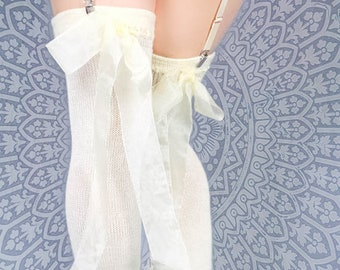 69e4536cab3 Off-white CREAM Cashmere Thigh High Garter Stockings w sheer ribbon -  Bridal Victorian Lace Steampunk Over the knee Socks - Winter Wedding