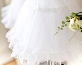 White Adult TULLE skirt - RocknRoll Wedding TUTU - Above the Knee Bridal Skirt - 1950s Full Petticoat - Bridal Separates - Swing Skirt