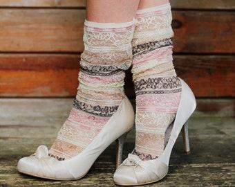 02c92b800b2aff Retro 50er Jahre Rosa und Elfenbein-Spitze Knöchel Socken - Sheer Mode  Kleid Socken für Heels oder Stiefel - Vintage Stil Mesh Socken - Socken  Sommer Braut