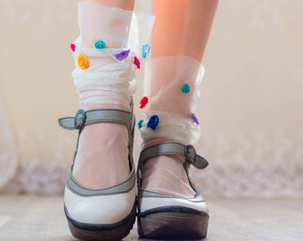 WHITE TULLE socks with Confetti ROSES - Fairy Princess Sheer Ankle Socks - Retro Fashion Mesh Socks Raw Tulle Edge  - Summer Socks heels