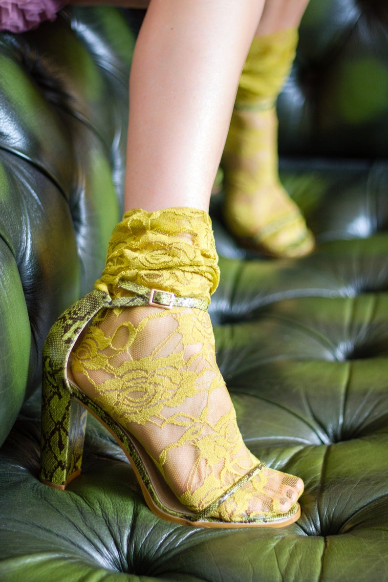 50s Retro Summer Socks for Heels or Sandals CHARTREUSE Green Slouchy Ankle Socks in Stretch Lace Wedding or Prom Socks Plus Size
