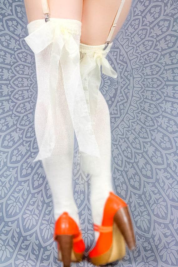 01fbee5df6c Off-white CREAM Cashmere Thigh High Garter Stockings w sheer