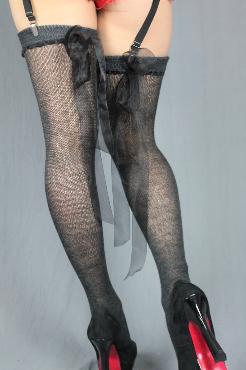 0267bd184 Sheer Charcoal GREY Cashmere Thigh High stockings with Bows