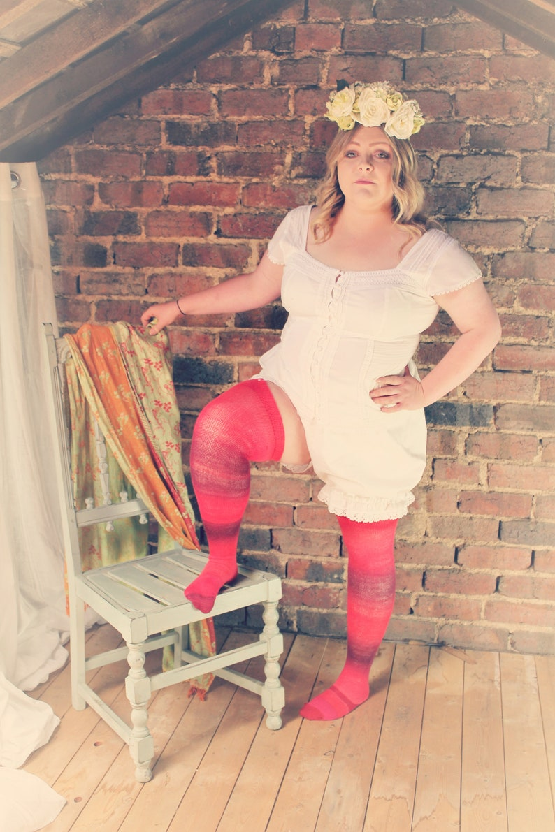 Burlesque curvy fashion RED Velvet Layer Cake Thigh High stockings Warm Long Socks Victorian Steampunk Edwardian OVER the KNEE Socks