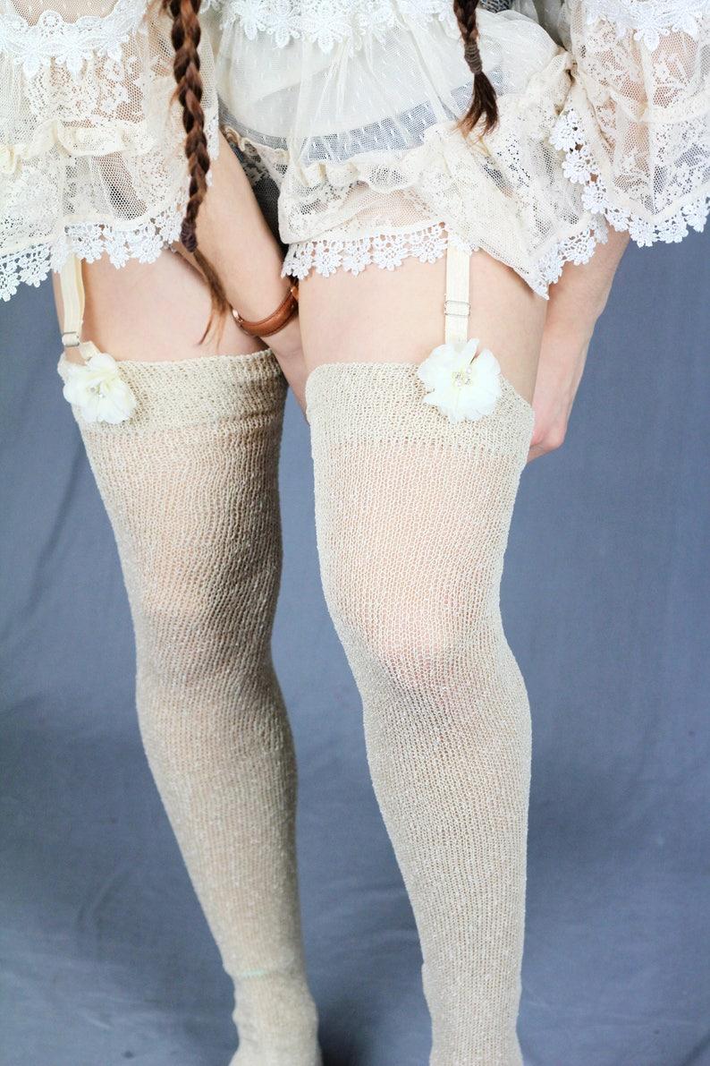 df13afaba89 Pearl BEIGE Glitter Vegan Thigh High Stockings Nude