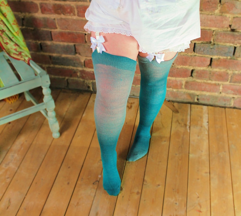 46e4c758f TEAL Green Blue abd Grey PLUS SIZE Thigh High stockings