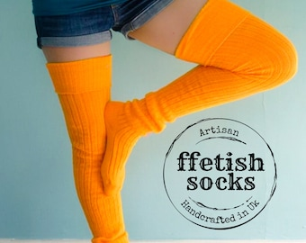 Bright ORANGE Thigh High Wool Blend Socks - Extra Long Unisex Knee Socks better than leg warmers - Happy Fall Colour - Plus sizes available