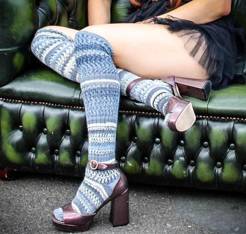 6c1516685a2 Shades of BLUE OverKNEEHIGH STRIPED Socks Winter Wool