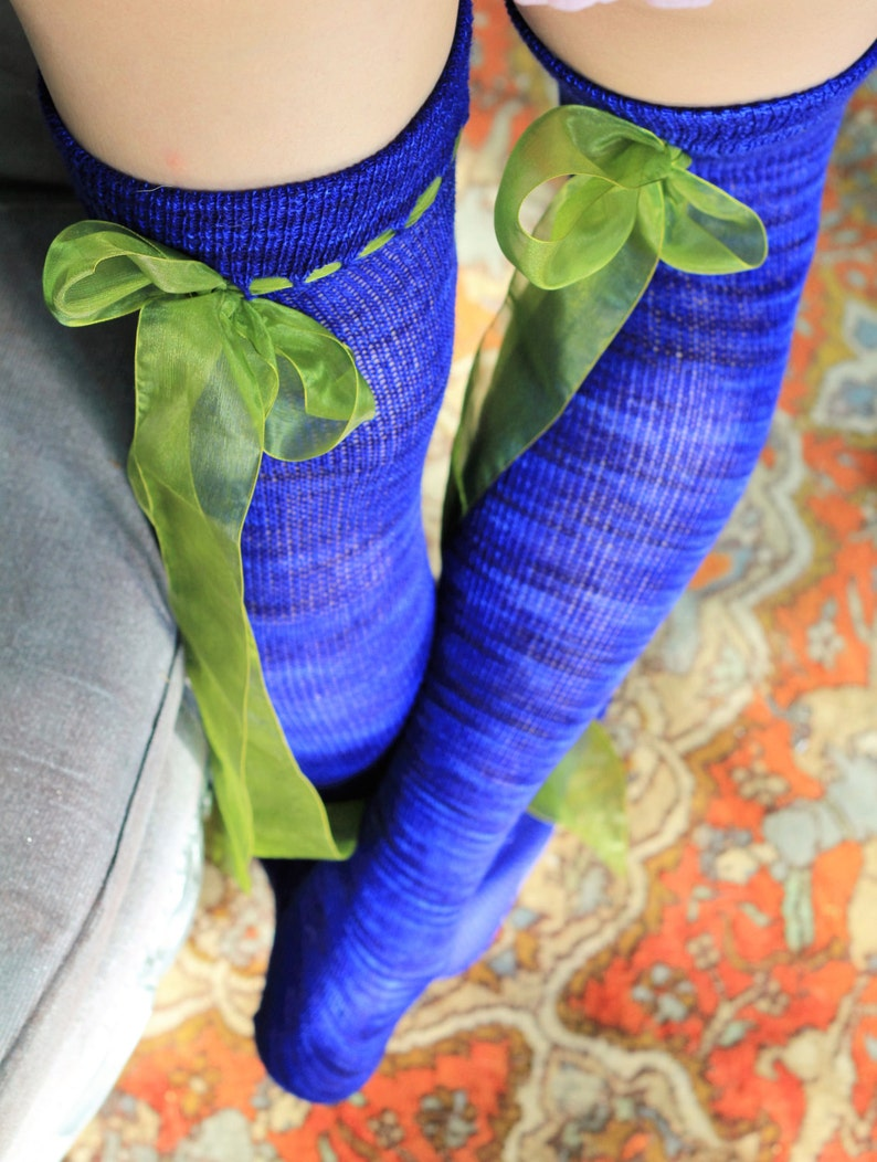 2cb6107f2 Royal BLUE Thigh High stockings with Flouncy GREEN Bow Sheer