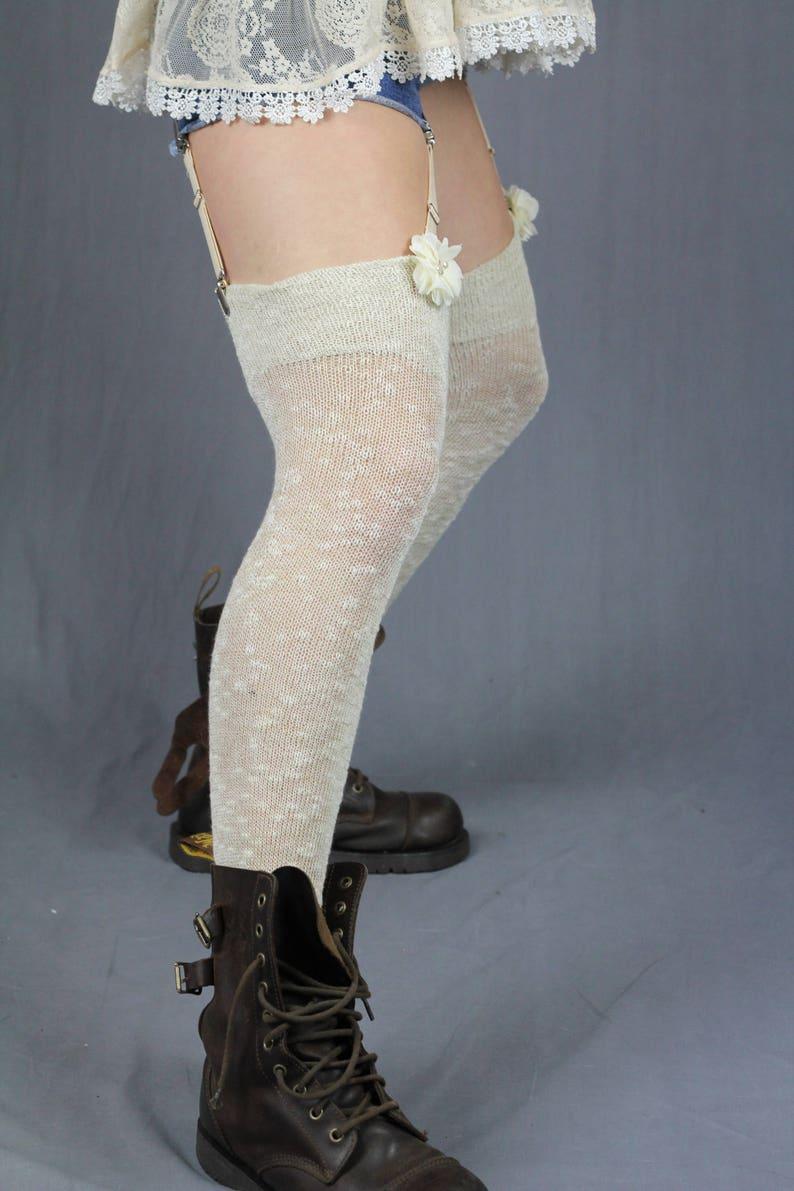 727daeeb009 Sheer WHITE Ecru Cotton Thigh High Stockings Textured