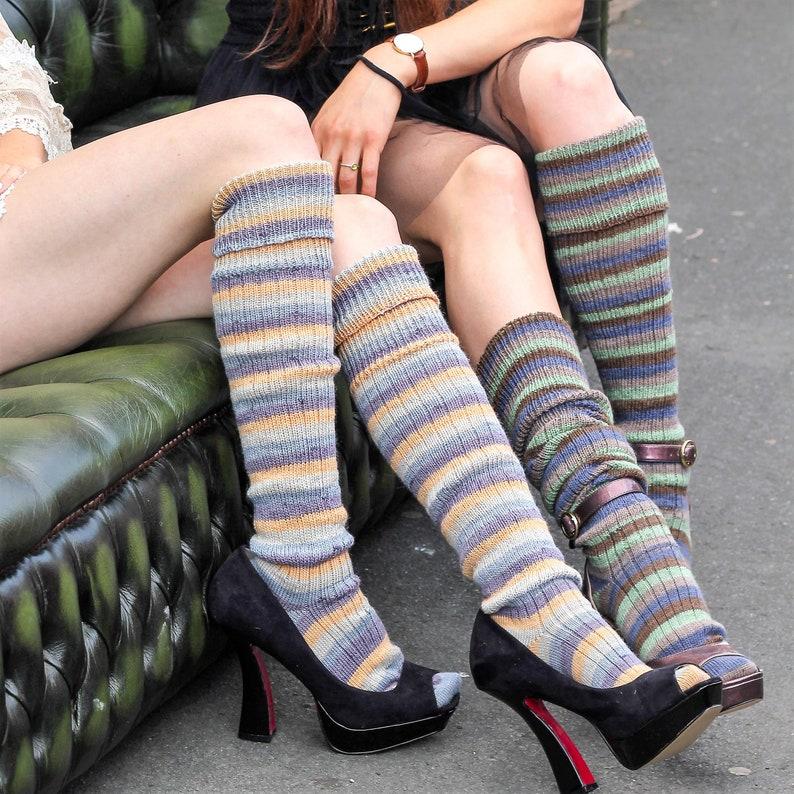 83febf10c SAND and blue OverKNEEHIGH STRIPED Socks Winter Wool stockings