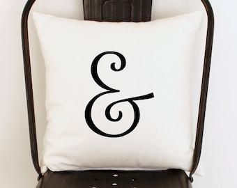 Ampersand Pillow Cover, Calligraphy Pillow, Black and White Pillow, Bed Pillows, Zippered Pillow, Elegant Decor, Decorative Throw Pillow