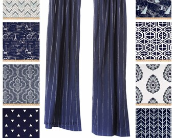 Window Curtains- Drapery Panels- Vintage Indigo Curtains- Navy Blue Curtains- Nautical Drapes- Custom Cafe Curtains- Blue Beach House Decor