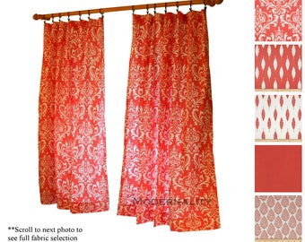 Coral Curtains- Modern Curtains- Drapery Panels- Coral Window Drapes- Damask Curtains- Long Bedroom Curtains- Kitchen Cafe Curtains
