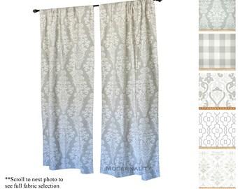Window Curtains Drapery Panels French Grey Custom Drapes Gray Nursery Valance Add Blackout Lining Treatment
