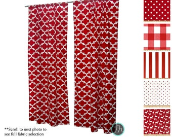 Custom Drapes Drapery Panels Lipstick Red Curtains Bold Window Valance Choose Your Size Lining Curtain