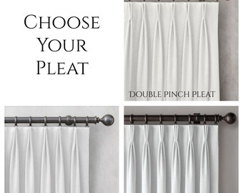 Add Pleats to Your Drapes- Triple Pinch Pleated Curtains- Fan Fold Curtain- French Pleat- Euro Pleat- Goblet Pleat- Custom Drapes with Hooks