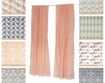 Window Curtains Drapery Panels Nursery Peach Sage Drapes Valance Kids Decor Grey Bedroom Shades Sundown