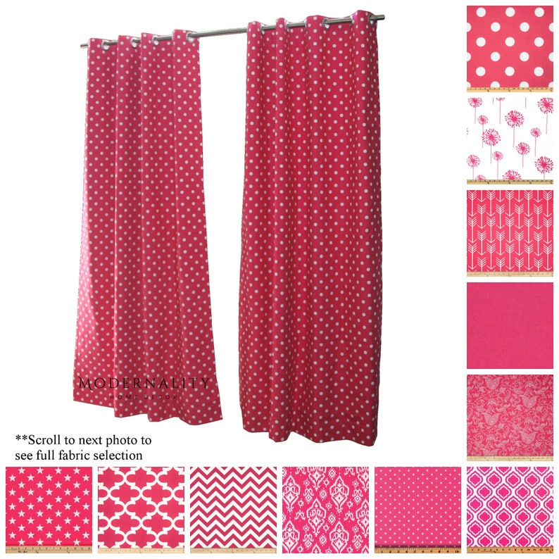 Charmant Custom Drapes  Drapery Panels  Candy Pink Curtains  Hot Pink Room Decor   Window Treatments  Pink Long Curtain Panels  Polka Dot Curtains