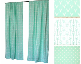 Window Curtains- Drapery Panel- Mint Curtains- Green Drapes- Nautical Decor- Valance- Choose your Size- Custom Curtains- Nursery Curtains
