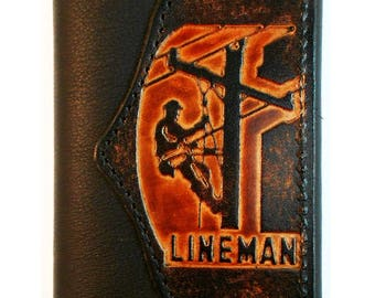 Hand-Crafted Lineman Leather Trifold Wallet, Linesman, Powerline Technician, Free Keychain