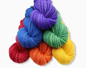 Handspun Yarn, Worsted weight Multi-skein set - SHOW YOUR PRIDE - Handpainted Falkland wool, 1146 yards, hand spun yarn, gift for knitter