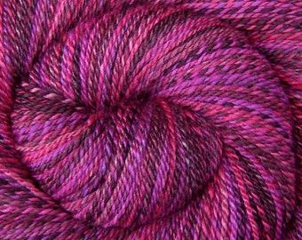 Handspun Yarn DK Weight - DRAGON FRUIT - Hand Dyed 60/40 Polwarth wool/Tussah Silk, 330 yards, gift for knitter, hand spun fuchsia weft yarn