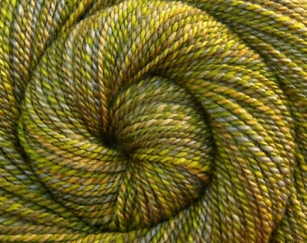 Handspun Yarn, Worsted weight - SPRING FOLIAGE - Hand dyed Bluefaced Leicester / Silk, 185 yards, green yarn, hand spun yarn, BFL yarn