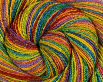 Sport Weight Handspun Yarn, Self Striping -CHASING RAINBOWS- Hand Dyed Superfine Merino wool, 378 yds, gift for knitter, rainbow yarn