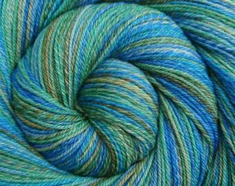 Hand Spun Yarn Fingering weight - CARIBBEAN MIST - Handpainted Polwarth/Silk, 472 yds, gift for knitter, blue handspun weft, hand dyed yarn