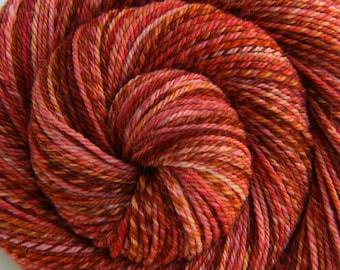 Handspun Yarn Worsted Weight - TROPICAL OASIS - SW Merino/Alpaca/Nylon/Silk, Sock yarn, 216 yds, hand spun yarn, gift for knitter, hand dyed