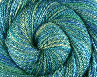 Handspun Yarn Dk weight - A THOUSAND SKIES - Hand dyed Bluefaced Leicester/Silk, 288 yards, knitter gift, hand spun yarn, BFL silk yarn