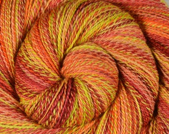 Fractal Spun Handspun Yarn, Fine Fingering Weight - MOJAVE SUNRISE - Hand Dyed Bluefaced Leicester, 485 yards, gift for knitter, BFL yarn