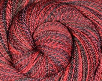 Handspun Yarn, Fine Fingering Weight - CUPID'S ARROW - Hand dyed 60/40 Polwarth/Silk, 473 yards, gift for knitter, red yarn, hand spun yarn