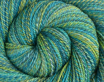 Handspun Yarn Fingering weight - GREAT BARRIER REEF - Hand dyed Merino/Yak/Bombyx Silk, 396 yards, gift for knitter, hand spun yarn