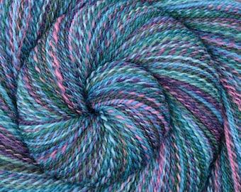 Handspun Yarn, Fingering weight - FROSTBITTEN - Hand Dyed Falkland wool yarn, 390 yards, gift for knitter, weft yarn, gift for weaver