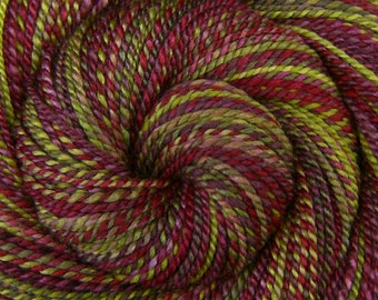 Handspun Yarn Worsted weight - HIBISCUS BLOSSOMS - Hand dyed 60/40 Polwarth/Silk, 214 yds, handpainted, red green weft yarn, hand spun yarn