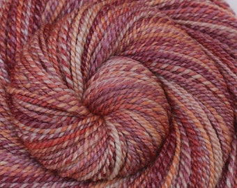 DK Weight Handspun Yarn - CRAB SHACK - Handpainted 60/40 Polwarth wool /Tussah Silk, 270 yards, hand dyed yarn, gift for knitter, weft yarn