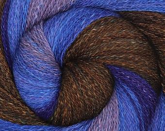 Handspun Yarn, Fingering Weight, Shawl-length Gradient - WOODS HARBOUR - Hand dyed Corriedale / Mulberry Silk, 830 yards, shawl yarn