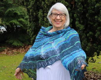 OOAK Hand Spun, Hand Dyed, Hand Knit Wearable Art Shawl - BFL/Merino/Polwarth/Silk knitted shawl, handmade shawl, gift for her, large shawl