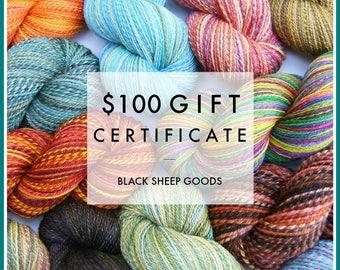 Gift Certificate - 100 Dollars - Handspun yarn, gift for knitter, weaving yarn, Christmas gift, birthday gift, Mother's Day gift for her
