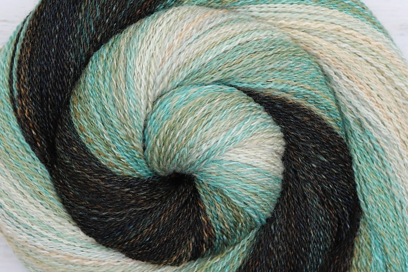 Handspun Yarn Lace Weight Gradient  SAND AND SURF  Hand dyed image 0